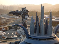 A view of the Oriental Science Fiction Valley theme park at sunset, in Guiyang