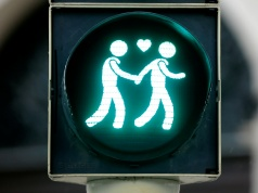 A gay-themed traffic light is pictured in Vienna