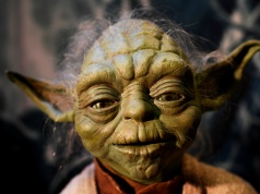 The Yoda puppet used in the original movies, is seen at the Star Wars Identities exhibition at the 02 in London