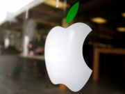 The logo of Apple (AAPL) is seen in Los Angeles, California