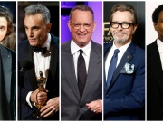 Combination photo shows nominees for the 75th Golden Globe Awards, Best Performance by an Actor in a Motion Picture, Drama, (L-R) Chalamet, Lewis, Hanks, Oldman, Washington
