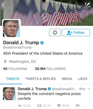 A late night Tweet is seen from the personal Twitter account of U.S. President Donald Trump