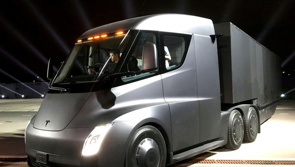 Tesla's new electric semi truck is unveiled during a presentation in Hawthorne