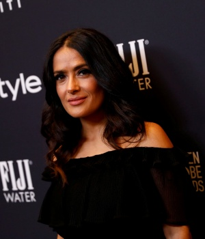 Actor Hayek attends the Hollywood Foreign Press Association (HFPA) and InStyle celebration of the 75th Annual Golden Globe Awards season at Catch LA in West Hollywood