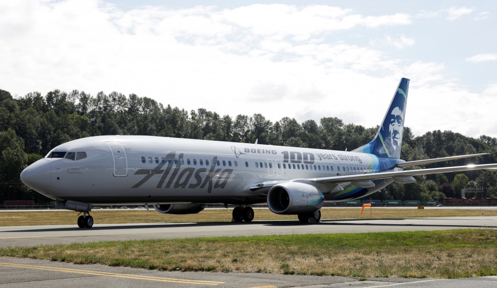 An Alaska Airlines plane is pictured in Seattle, Washington