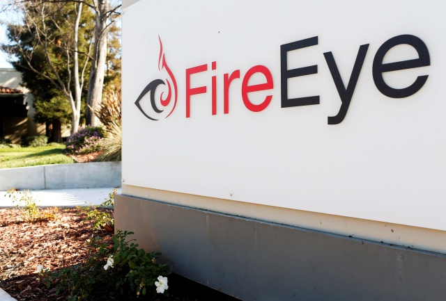 FireEye logo is seen outside the company's offices in Milpitas