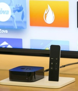 A new Apple TV is pictured at an Apple Store in Los Angeles