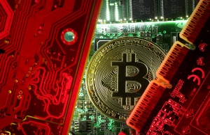 A coin representing the bitcoin cryptocurrency is seen on computer circuit boards in this illustration picture