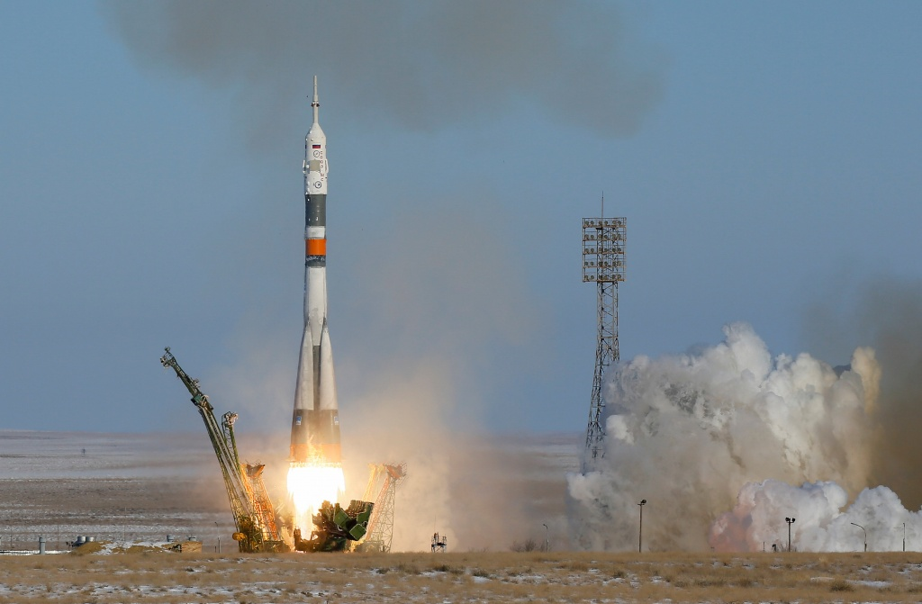 The Soyuz MS-07 spacecraft carring the next International Space Station (ISS) crew blasts off from the launchpad at the Baikonur Cosmodrome