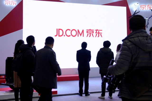 A JD.com sign is seen during the fourth World Internet Conference in Wuzhen