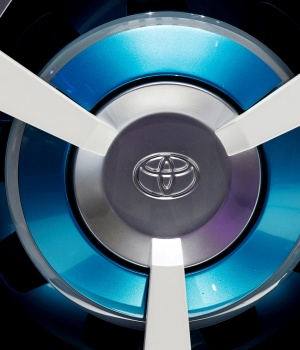 Toyota logo on a wheel at the Mondial de l'Automobile in Paris