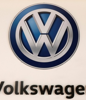 A Volkswagen logo is pictured at the International Auto Show in Mexico City