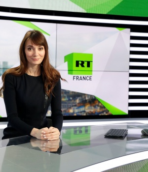"Xenia Fedorova, chief executive of RT France, of the Russian state broadcaster RT, formerly known as ""Russian Today"", poses during a visit to their news studio in Boulogne-Billancourt"