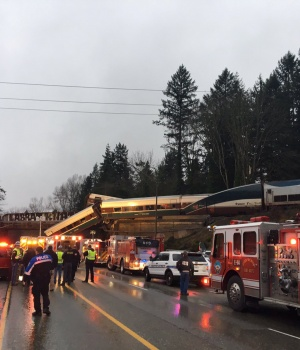 Washington State Patrol photo of first responders at the scene of an Amtrak passenger train derailment in DuPont