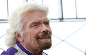 Richard Branson poses at the Empire State Building to promote the DS Virgin Racing team and The New York City ePrix in New York