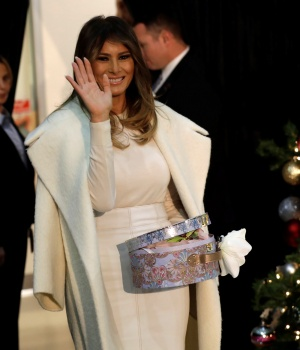 U.S. first lady Melania Trump waves during her annual Christmas visit