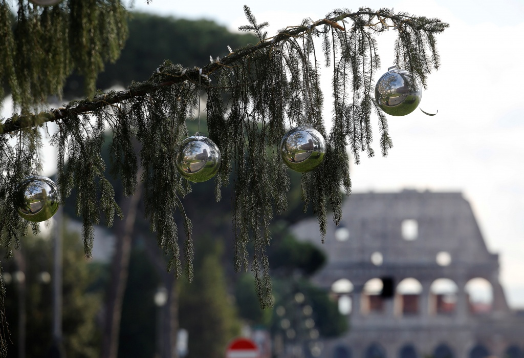 A Christmas tree is seen in downtown Rome