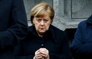 German Chancellor Merkel attends the inauguration of memorial at the site of last year's truck attack in a Christmas market at Breitscheidplatz square in Berlin