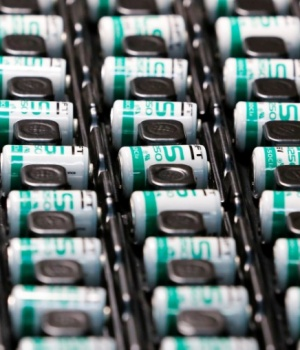 Lithium-ion batteries are pictured at the production site of Saft Groupe, battery specialists, in Poitiers