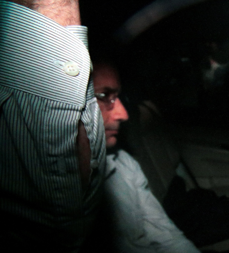 Marcelo Odebrecht, former chief executive officer of Odebrecht SA, is seen inside his car during his arrival at his home in Sao Paulo