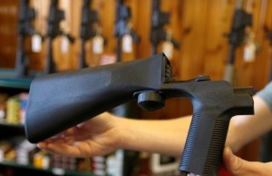 An example of a bump stock that attaches to a semi-automatic rifle is seen at Good Guys Gun Shop in Orem