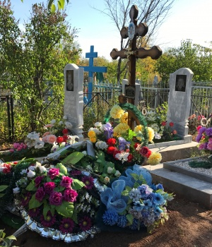 The grave of Russian private military contractor Vladimir Kabunin, who was said to be killed in Syria, is pictured at a cemetery in the city of Orenburg, in the southern Urals,