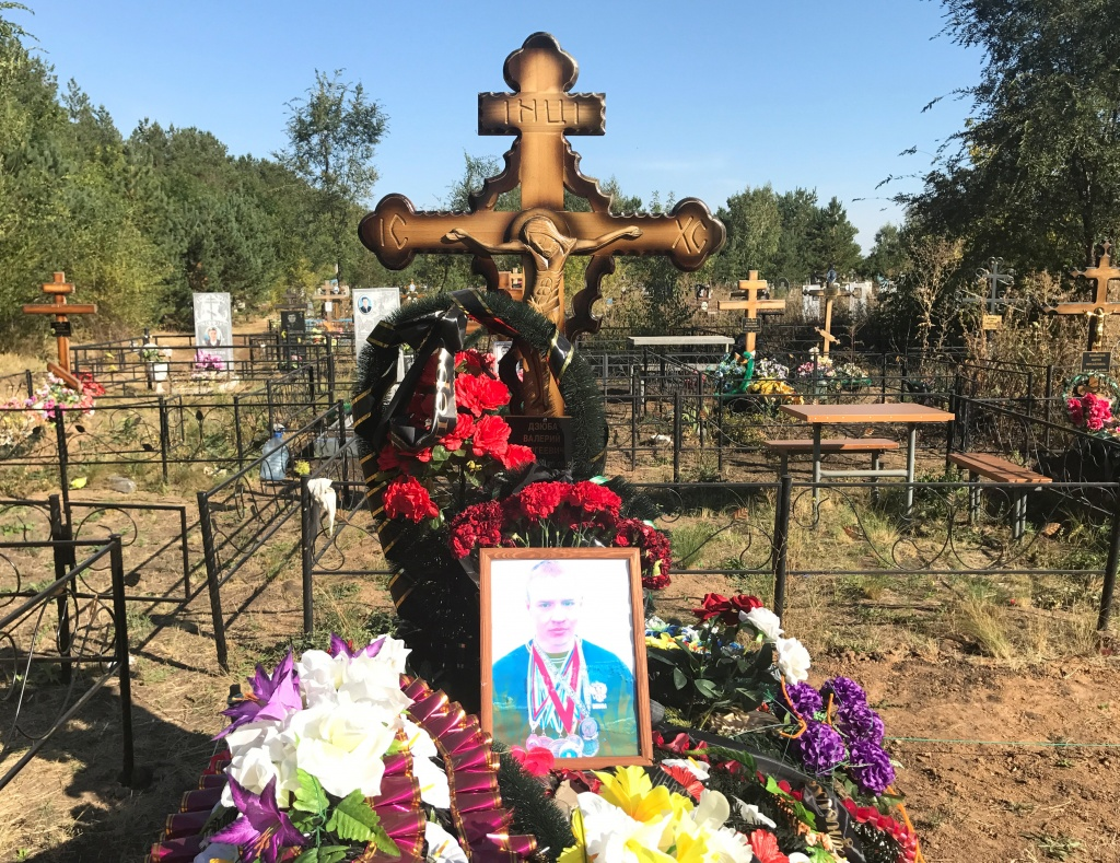 The grave of Russian private military contractor Valery Dzyuba, who was said to be killed in Syria, is pictured at a cemetery near Orenburg