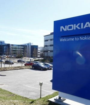 A Nokia sign is seen at the company's headquarters in Espoo