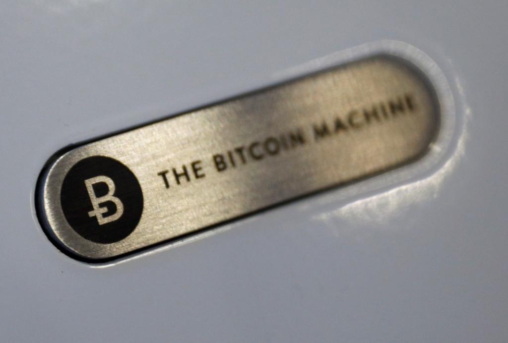 A close-up view of a Bitcoin ATM is pictured at the opening of the Ducatus cafe, a cashless cafe that accepts cryptocurrencies such as Bitcoin, in Singapore