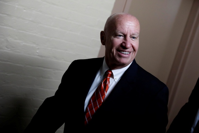 Rep. Kevin Brady (R-TX), Chairman of the House Ways and Means Committee, arrives for a Republican conference meeting at the U.S. Capitol in Washington