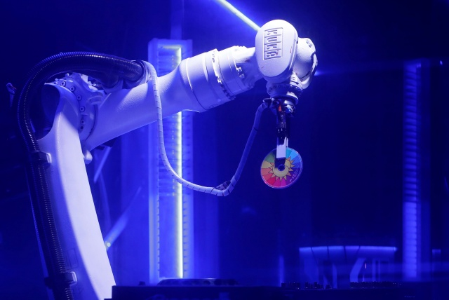 Robotic DJ plays music in Karlovy Lazne Music Club in Prague