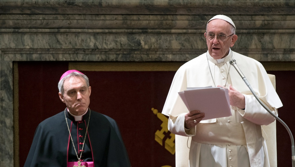 Pope Francis delivers his message to the Roman Curia on the occasion of Christmas in the Clementine Hall at the Vatican