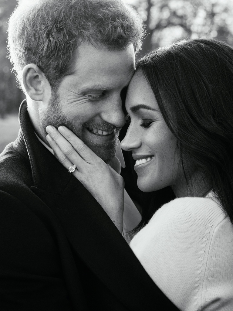 One of two official engagement photos released by Kensington Palace of Prince Harry and Meghan Markle taken by Alexi Lubomirski at Frogmore House in Windsor