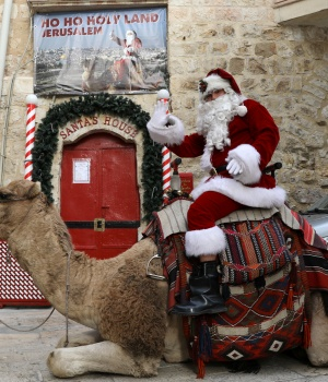 Israeli-Arab Issa Kassissieh, wearing a Santa Claus costume, rides a camel during the annual Christmas tree distribution by the Jerusalem municipality in Jerusalem's Old City