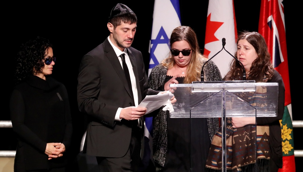 Sherman speaks at a memorial service, in front of other family members, for his parents, Apotex pharmaceutical billionaire Barry Sherman and his wife Honey, days after what police call their suspicious deaths in Toronto