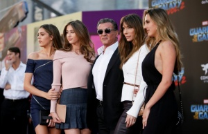 """Actor Sylvester Stallone poses with his daughters and his wife Jennifer Stallone at the world premiere of Marvel Studios' """"Guardians of the Galaxy Vol. 2."""" in Hollywood,"""
