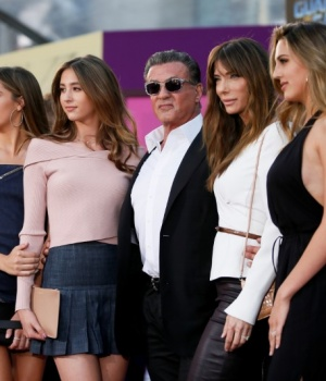 "Actor Sylvester Stallone poses with his daughters and his wife Jennifer Stallone at the world premiere of Marvel Studios' ""Guardians of the Galaxy Vol. 2."" in Hollywood,"