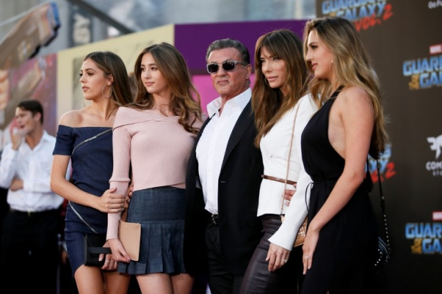 Actor Sylvester Stallone poses with his daughters and his wife Jennifer Stallone at the world premiere of Marvel Studios'