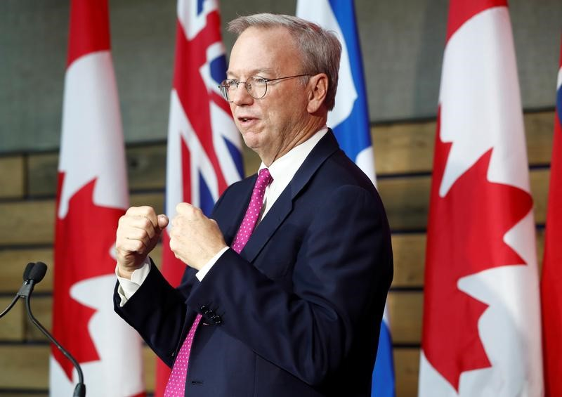 "Executive Chairman of Alphabet Schmidt speaks during a press conference where Alphabet Inc, the owner of Google, announced the project ""Sidewalk Toronto"", in Toronto"