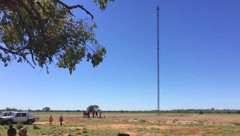 A supplied image showing the 53-metre internet tower that grains and livestock farmer Andrew Sevil built on his remote property of 'Whyenbah', located near the township of St George in Queensland
