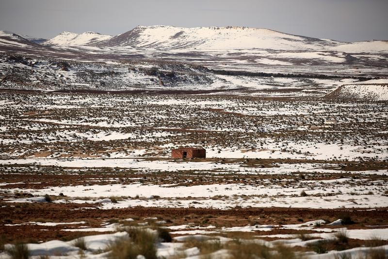 A house is pictured on the outskirts of Al Bayadh in the high steppe region of south western Algeria
