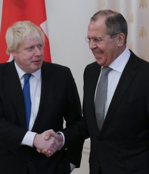 Russian Foreign Minister Sergei Lavrov meets with British Foreign Secretary Boris Johnson in Moscow