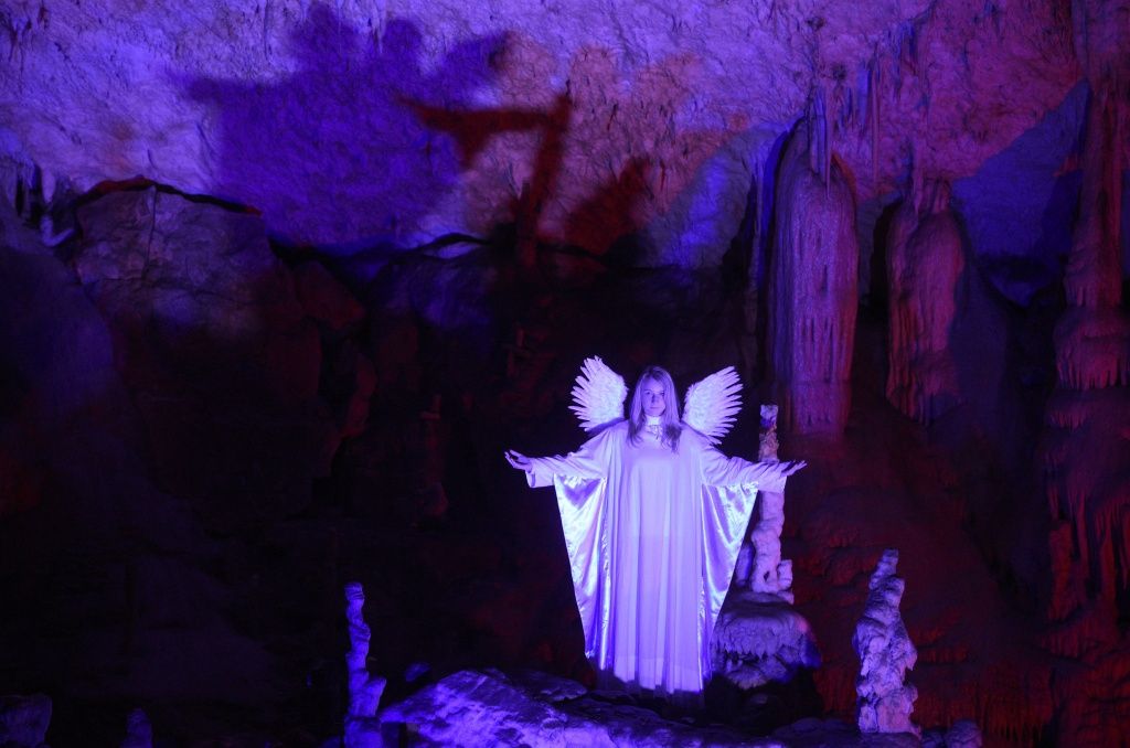 An actor performs the real-life Nativity biblical scenes in Postojna cave, in Postojna