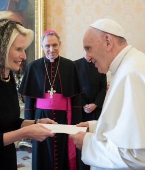 Pope Francis meets U.S. ambassador to the Vatican Callista Gingrich at the Vatican