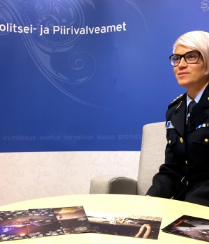 Estonian police and Border Guard Board leading public order officer Sirle Loigo shows Christmas cards to be sent to drivers with five or more driving offences recorded during the year, in Tallinn