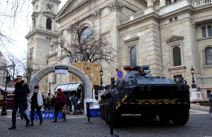 Armoured vehicle of the Hungarian counter-terrorism unit TEK is seen at the entrance of the Christmas market in Budapest