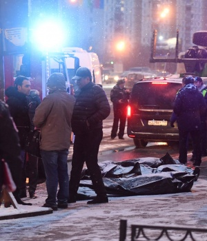 A view shows the scene of an incident involving a passenger bus, which swerved off course and drove into a busy pedestrian underpass, in Moscow