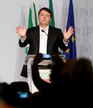 Former Italian Prime Minister Matteo Renzi gestures as he talks during a meeting of Democratic Party (PD) in Rome