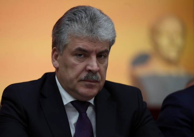 Pavel Grudinin attends a Communist Party congress to nominate a candidate for presidency in Snegiri outside Moscow,
