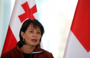 Switzerland's President Leuthard speaks during a news conference in Tbilisi